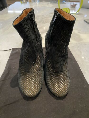 MAISON MARTIN MARGIELA PERFORATED BLACK SUEDE BOOT
