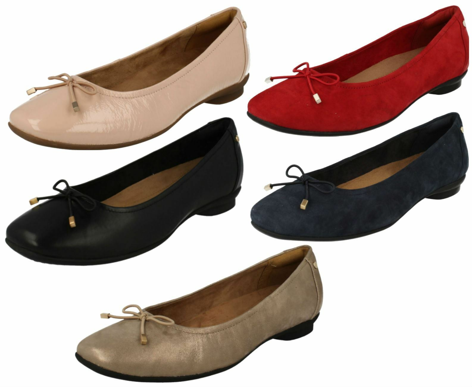 Ladies Clarks Casual Ballerina Style Pumps Candra Light