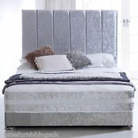 Hf4you Orthopaedic Sprung Memory Foam Bed Set - Crushed Velvet Silver