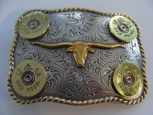 SHOTGUN SHELLS BELT BUCKLE  TEXAS LONGHORN WESTERN MANY CALIBERS RIFLE-PISTOL