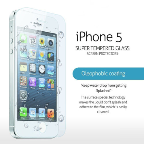 100% Genuine Tempered Glass Film for Apple iPhone 5S & 5C Screen Cover Protector