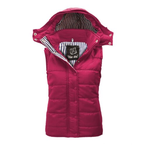 LADIES SLEEVELESS HOODED QUILTED GILET BODYWARMER JACKET SIZES 8-26