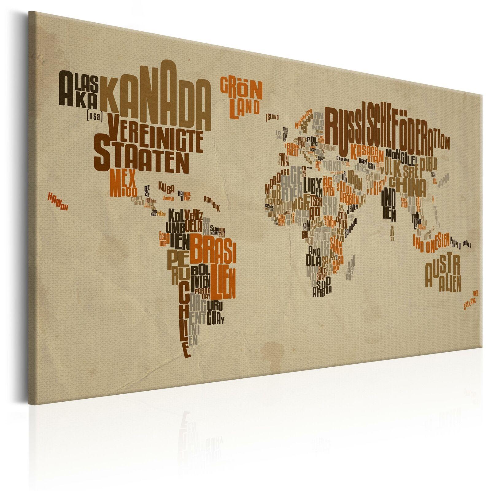Wandbilder xxl Weltkarte Bilder auf Vlies Leinwand Leinwandbilder k-C-0020-b-a