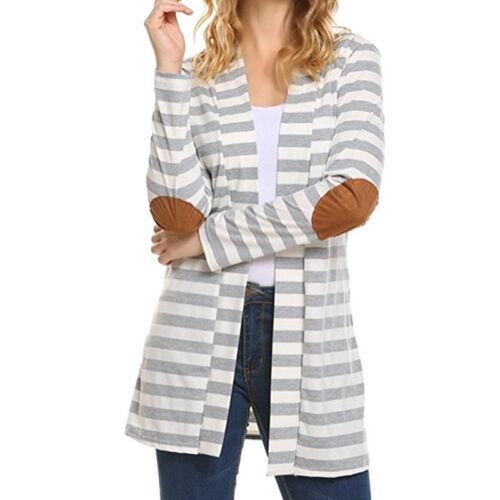 Damen Langarm Pullover Strick Cardigan Jacke Strickjacke Streifen Tunika Bluse