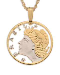 Brazil-Pendant-amp-Necklace-Brazilian-Coin-Hand-Cut-3-4-034-Diameter-41