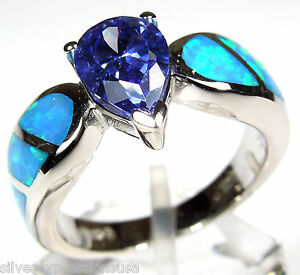 Tanzanite /& Blue Fire Opal Inlay 925 Sterling Silver Men/'s Woman Ring size 6-12