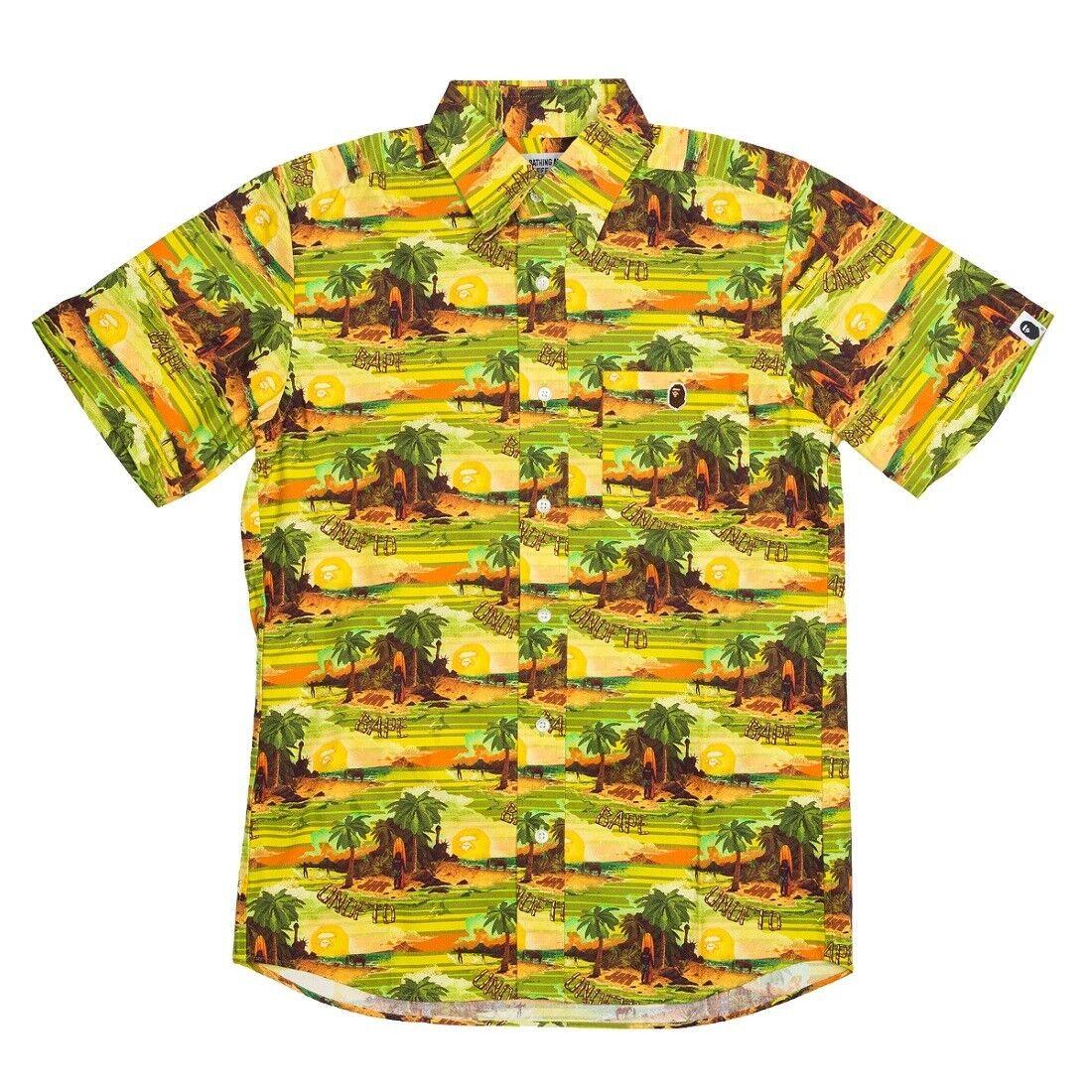 Undefeated x a bathing ape men undftd bape island woven button shirt green