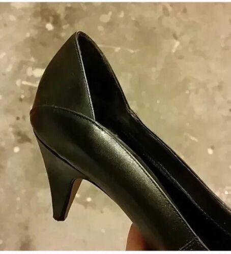 negro Bombas de toe peep 5 cuero tamaño 7 vintage 4AqpIA