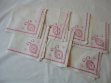 Set of 6 Vintage Hand-Embroidered Linen Napkins , cross stitch