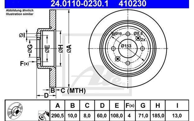 ATE Juego de 2 discos freno Trasero 290,5mm para PEUGEOT 406 24.0110-0230.1