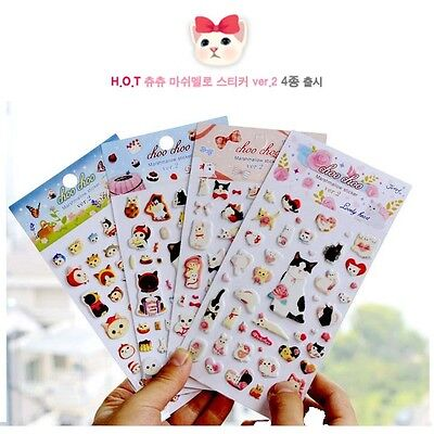 Kawaii Cat Decorative Bubble Sponge Sticker Crafts Gift Card Scrapbook Label Tag