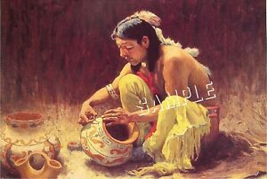 """DECORATING POTTERY"" NON-NATIVE AMERICAN INDIAN IMAGE CANVAS ART PRINT ~ GICLEE"