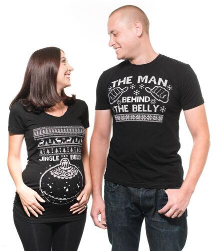 Grappige Bijpassende T shirts Jingle Belly Zwangerschap Kerst shirts paar W9YbEDHIe2