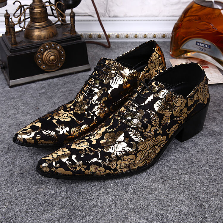 Uomo Pelle Floral Toe Toe Floral Pointed Cuban Dress Wedding Formal Shoes Business Pumps 31f93f