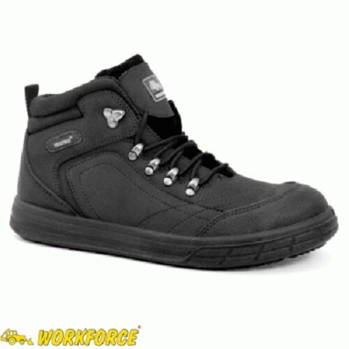 MENS WORKFORCE SNEAKER LEATHER WORK STEEL TOE SAFETY TRAINER BOOTS SHOES Sz 3-14