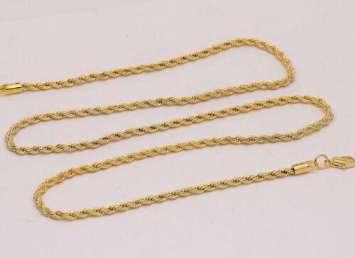 5mm 18K Yellow Gold Plated Twisted Rope chain necklace pendant 16-34 Inches T5G