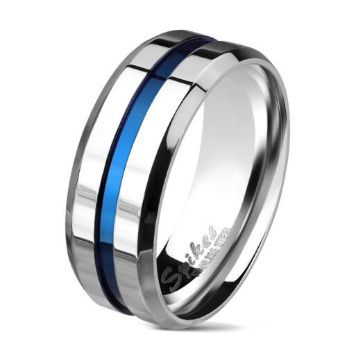 RING MAN STAINLESS STEEL POLISHED AND GROOVE STRIPE BLUE CENTRALE M6694