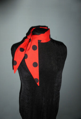 Red polka dot hair scarf spotted retro rockabilly 1940/'s red black self tie up