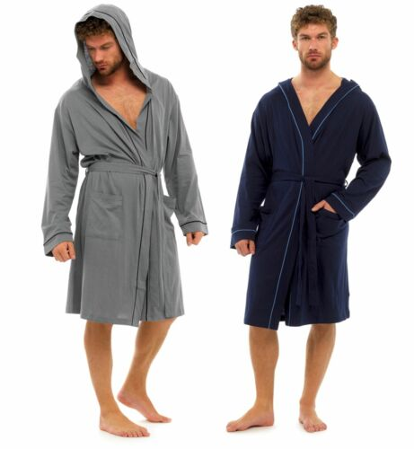 Mens Lightweight Robe Summer Dressing Gown 100% Cotton Bathrobe Housecoat Size