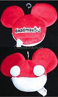 Deadmau5 Band Red White Plush Coin Purse Bag Wristlet With Zipper & Ears