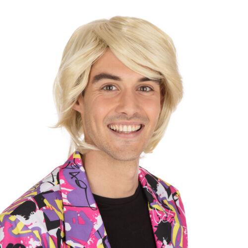 Les Adultes Blonde côté Parting Perruque 1980 S Pop Idol Boy Band ROBE FANTAISIE HOMME