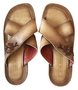 MARC-JACOBS-Womens-Sz-37-7M-Boho-Tan-Leather-Slide-Sandals-Floral-Applique