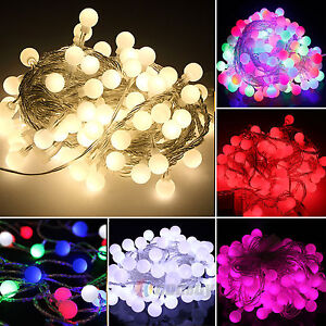 100led kugel lichterkette weihnachten party hochzeit deko beleuchtung lichter ebay. Black Bedroom Furniture Sets. Home Design Ideas