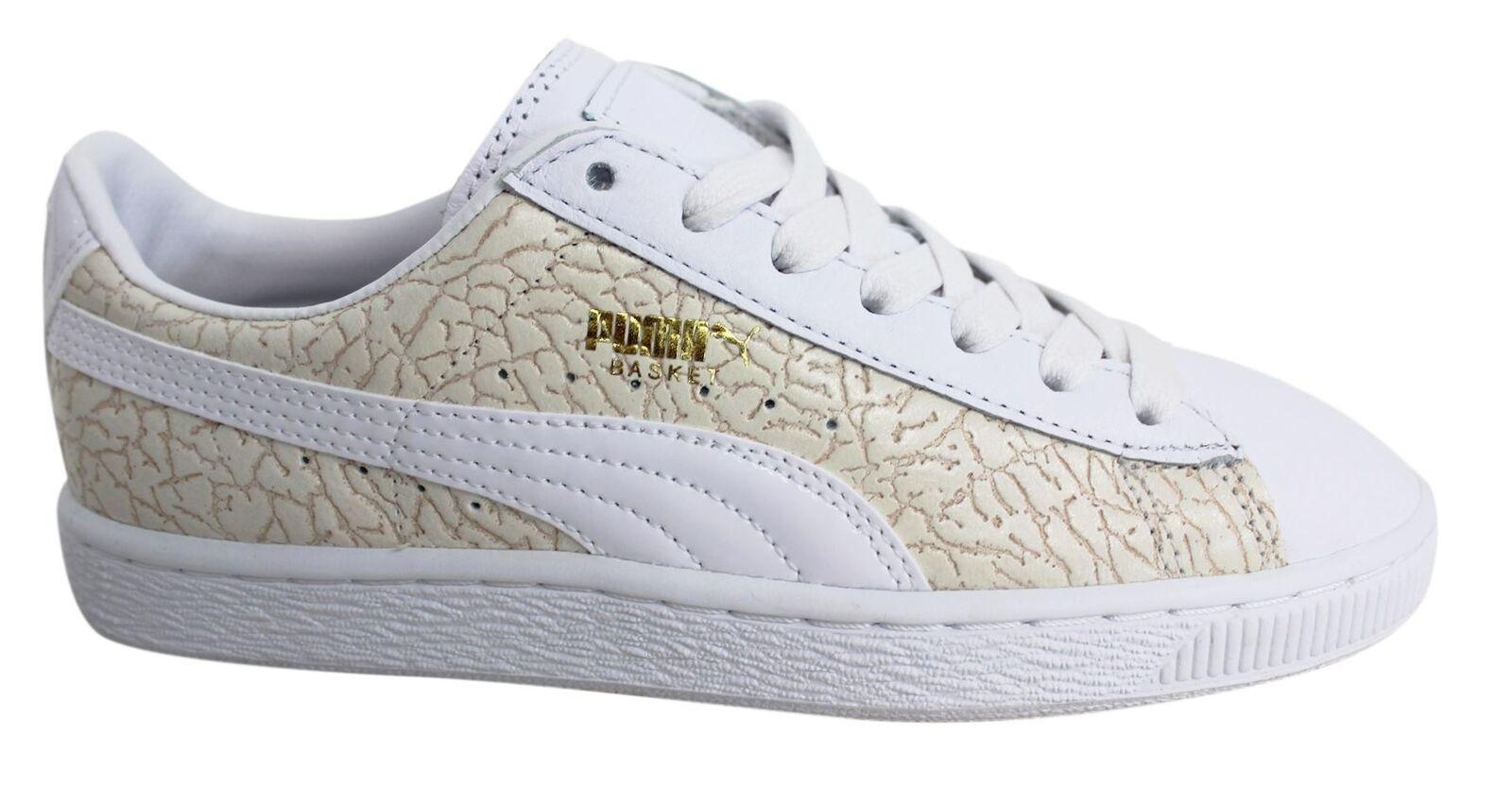 Puma Basket weißes Leder Krokodil SCHNÜRER HERREN TURNSCHUHE 358872 01 M14