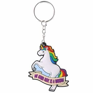 White-My-Other-Ride-Is-A-Unicorn-amp-Rainbow-PVC-Keyring-Chain-10cm