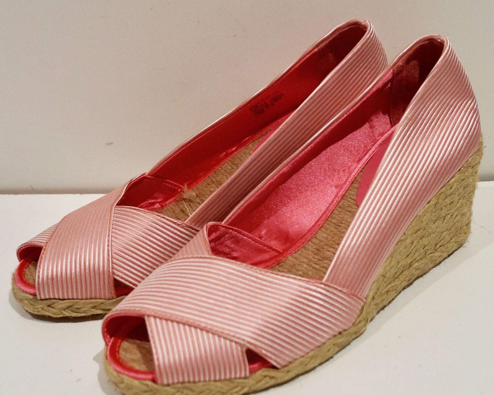 LAUREN RALPH LAUREN Pink Striped Peep Toe UK7.5 Espadrilles Wedges Sandales 9.5B UK7.5 Toe 6e3cfa