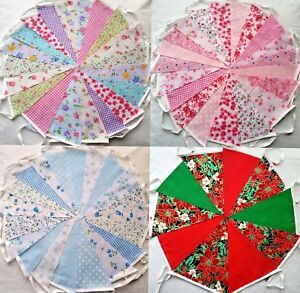 Tissu-Bunting-Mariage-Vintage-Shabby-amp-CHIC-fait-main-floral-dentelle-3-10-20-40-pieds