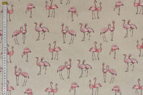 Pink /& White Flamingos Fabric Quality Upholstery Craft Cotton Fabric Curtain