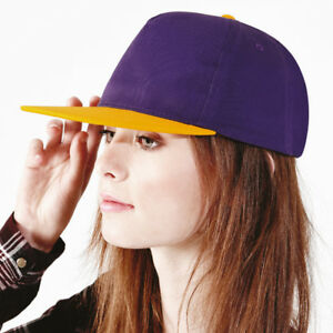 344fc479a Details about Beechfield Youth Size Retro Style Flat Peak Snapback Teen Hip  Hop Casual Hat New