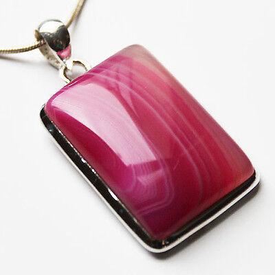 925 Sterling Silver Semi-Precious Stone Pendant - Pink Agate