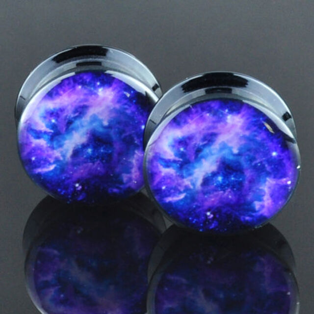 2PCS Acrylic Gauges 6mm~16mm Ear Stretcher Plugs Tunnels Screw Purple Cosmic