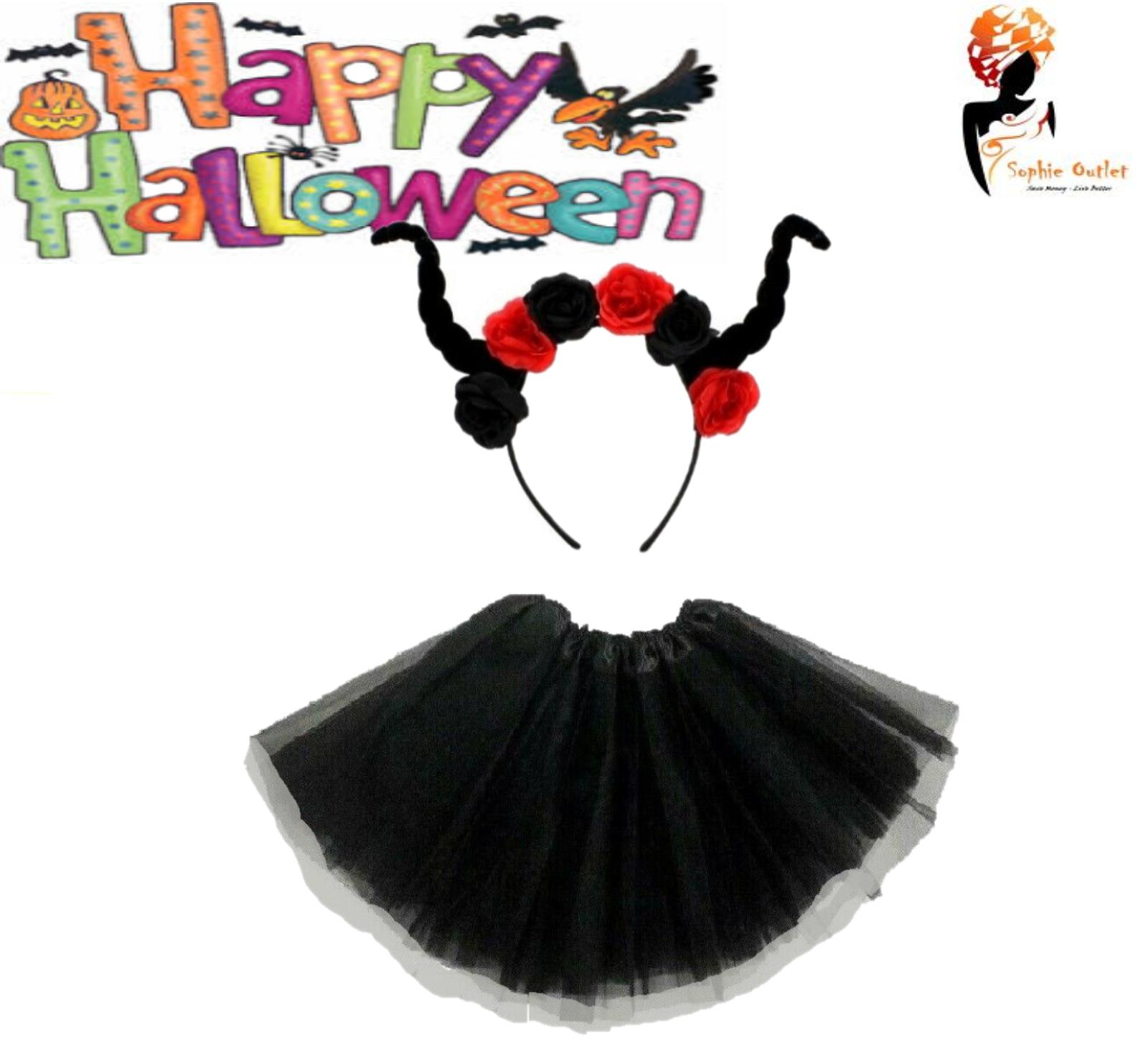 Ladies Kids BLACK DARK DEVIL HORNS HEADBAND WITH ROSES Halloween Fancy Dress Lot