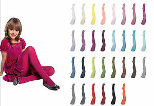 Girls-Tights-Plain-Opaque-40-Denier-Microfibre-Age-2-12-Years-30-Various-Colours