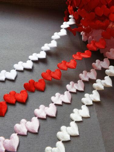 VINTAGE satin lil Hearts lace ribbon CRAFTS card gift Bridal valentine per Yard