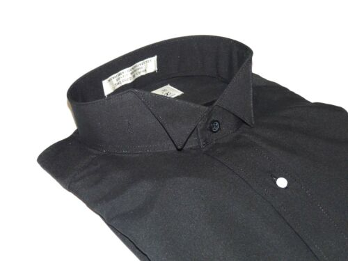 Men/'s Tuxedo shirt By CLASSIX Wing Tip Formal Plain Front After Six M14 Black