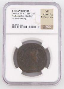 238-244 Anuncio Romano Imperial AE Sestertius Moneda MB NGC Gordian III Aequitas
