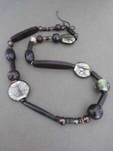 Vintage Modernist Murano Venetian Foil Glass Necklace