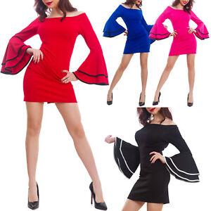 7452e805f9bb Caricamento dell immagine in corso Vestito-donna-miniabito-maniche-campana -scollo-gitana-elegante-