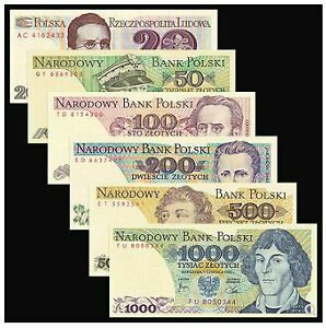 Poland-Banknote-6pcs-Set-UNC-6-20-50-100-200-500-1000