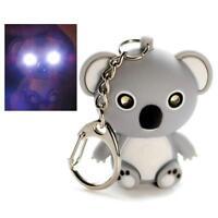Led Light Keychain Koala Bear W Sound Animal Toy Keyring Key Chain Ring Gift