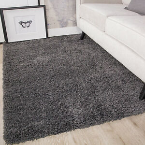 Soft Fluffy Charcoal Grey Shaggy Rug Cosy Furry Thick Non