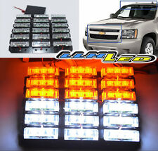 UNIVERSAL DIY WATERPROOF 54 LED WHITE/AMBER STROBE LIGHTS TOW TRUCK/GOLF CART