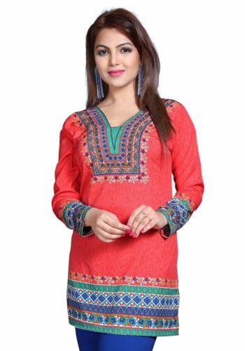 UK STK Orange Women Fashion Indian Short Kurti Tunic Kurta Top Shirt Dress 129A