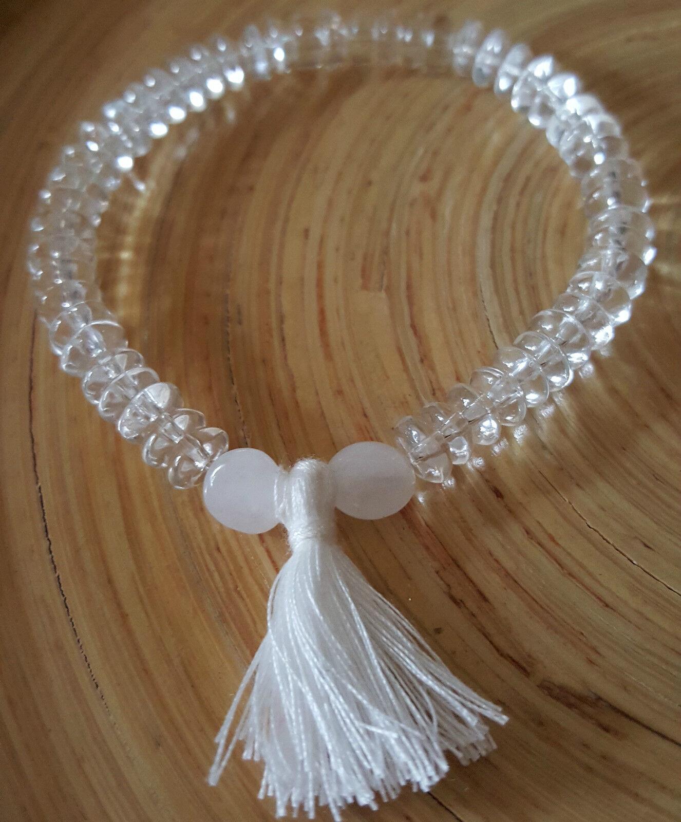 Russian Natrolite High Vibration Himalayan Water Crystal Quartz Tassel Bracelet