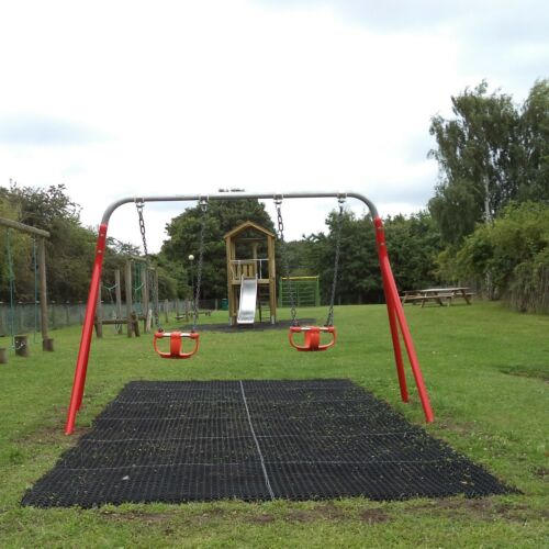 12 x Rubber Playground Swings Safety Mats Inc Fixing Pegs22mm Grass Matting