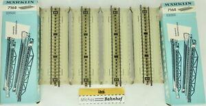 4x-Droit-Rampe-marklin-7168-Voie-M-Voie-Metallique-H0-Emballage-D-039-Origine-HI3